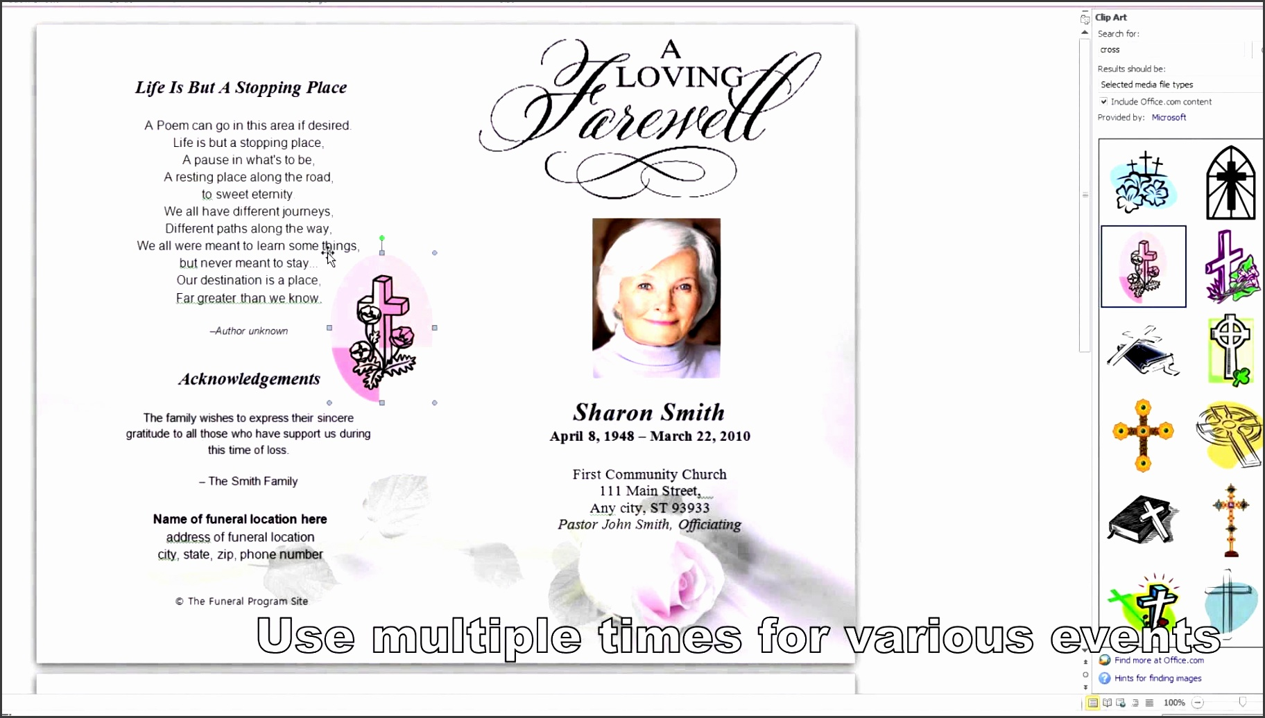 microsoft office obituary template