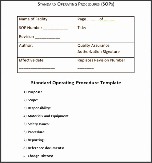6  ms word standard operating procedure template