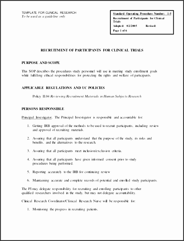 standard operating guidelines template - 6 ms word standard operating procedure template