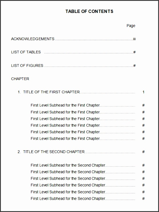 Table Of Contents For Apa Format Example Word on