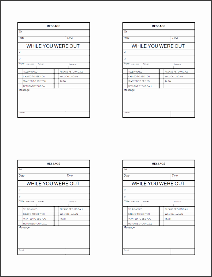 4+ Ms Word Telephone Message Template - SampleTemplatess ...