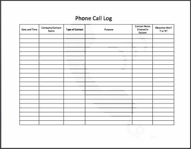 telephone log template