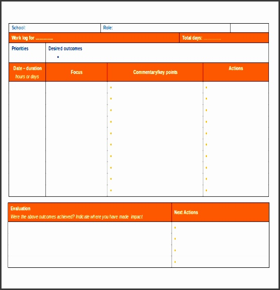 daily work log template microsoft word