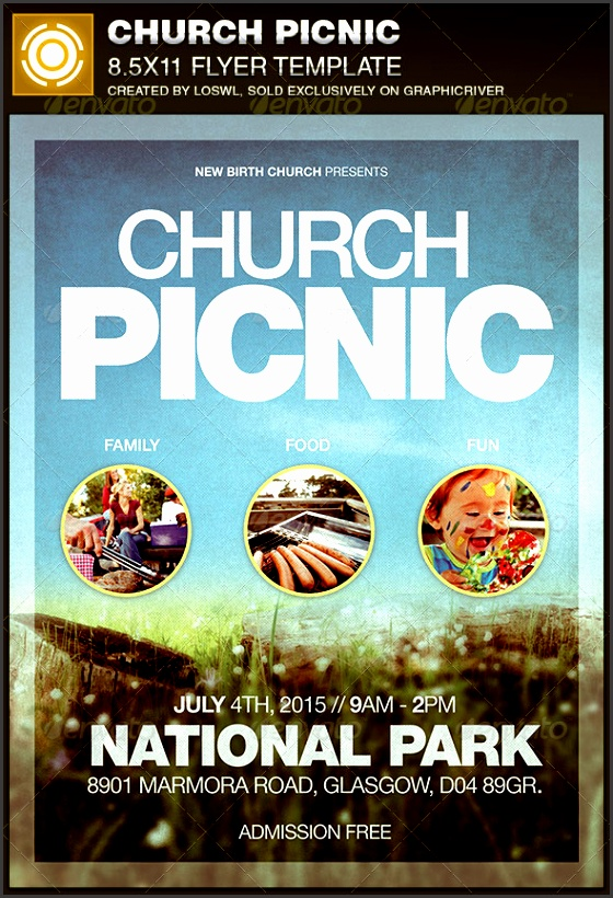 church picnic flyer template church flyers