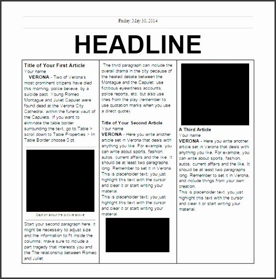 editable elementary school newspaper template free google doc