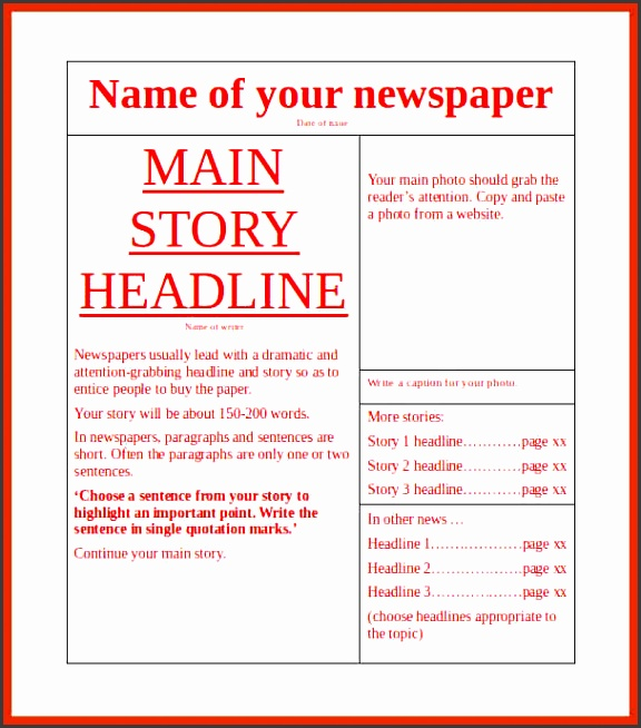 newspaper article template word free newspaper template