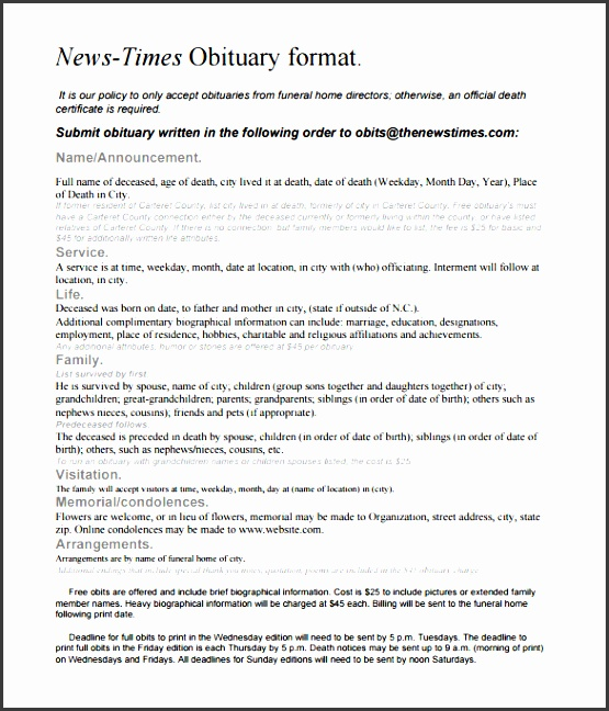 newspaper obituary sample template