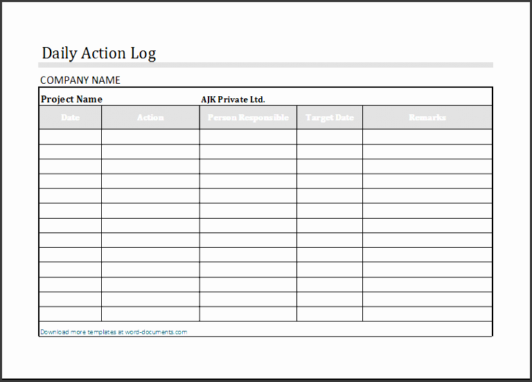 Action Log Templates
