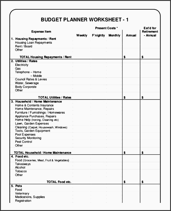 basic bud planner worksheet template