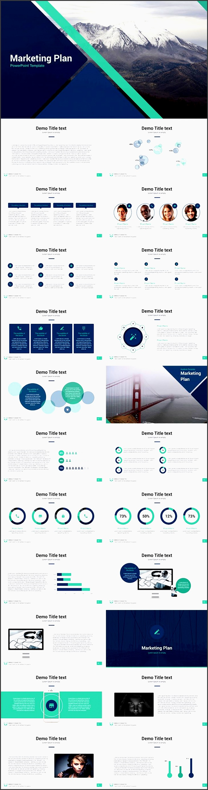 the marketing plan free powerpoint template is 26 unique slides in two formats built