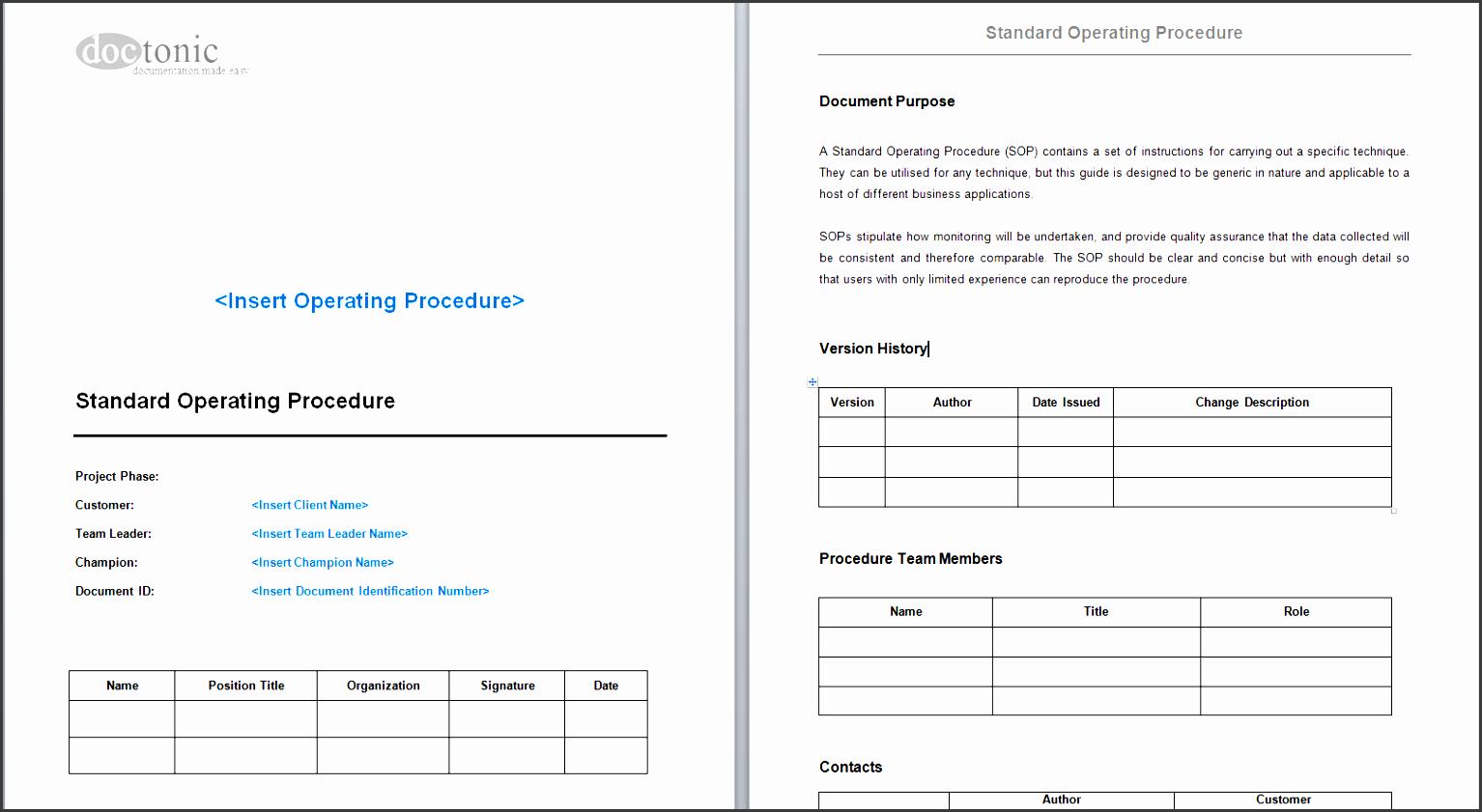 standard operating procedure template skin