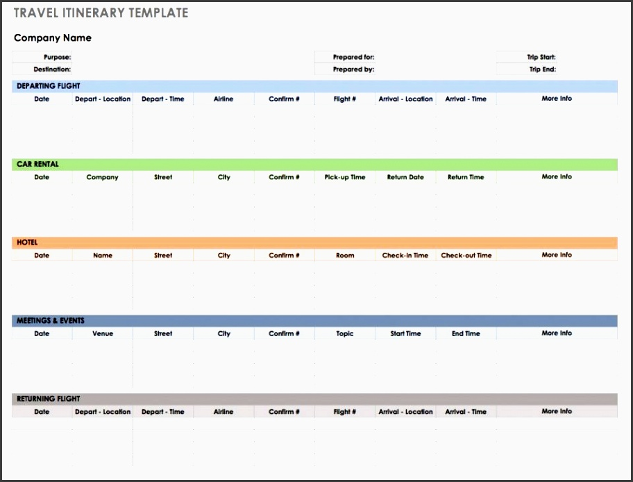 this travel itinerary template is beneficial for planning a vacation or business trip it includes columns for all of the crucial information to