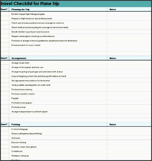 travel checklist for plane trip