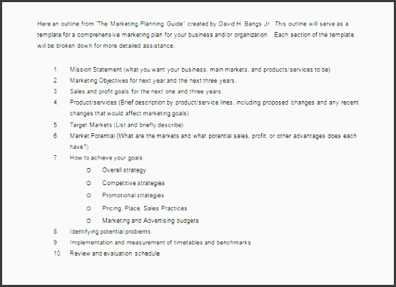 marketing plan outline example word doc