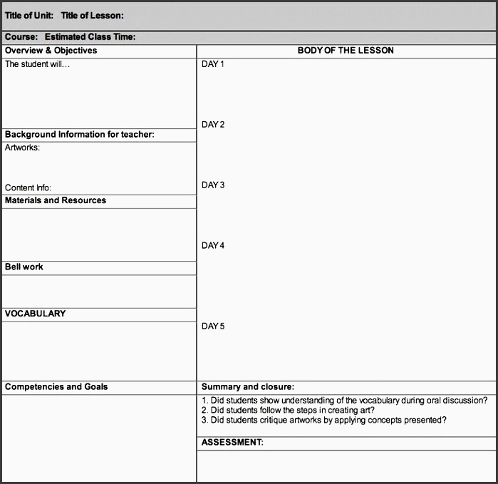 art lesson plan templates below is a lesson plan template rubric and student reflection