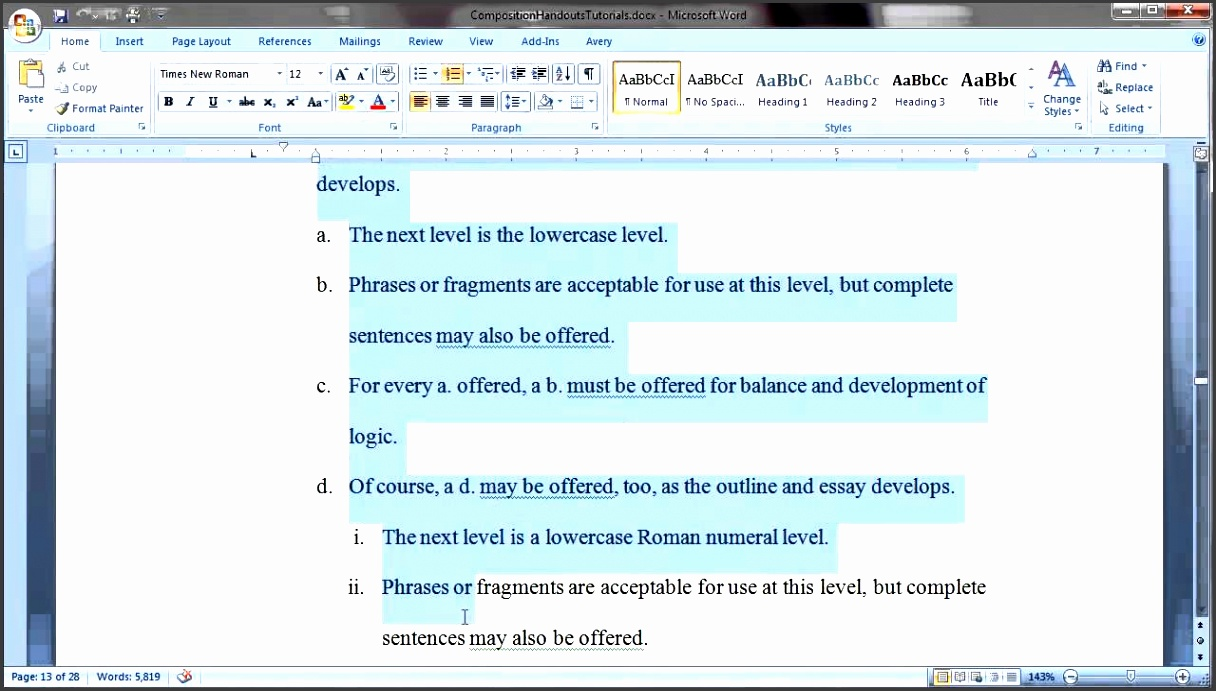 using word to create an outline
