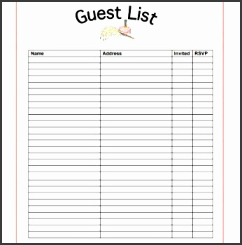 10 Party Guest List Templates  Guest List Sample