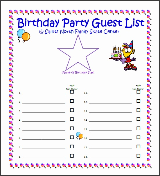 Party Guest List Sample  Sampletemplatess  Sampletemplatess