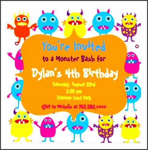 cute monster birthday party invitation templates for a fun kids birthday party
