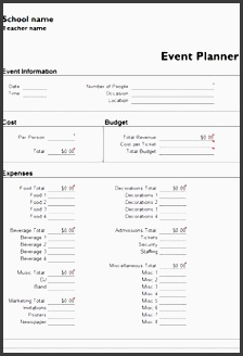 microsoft excel event planner template