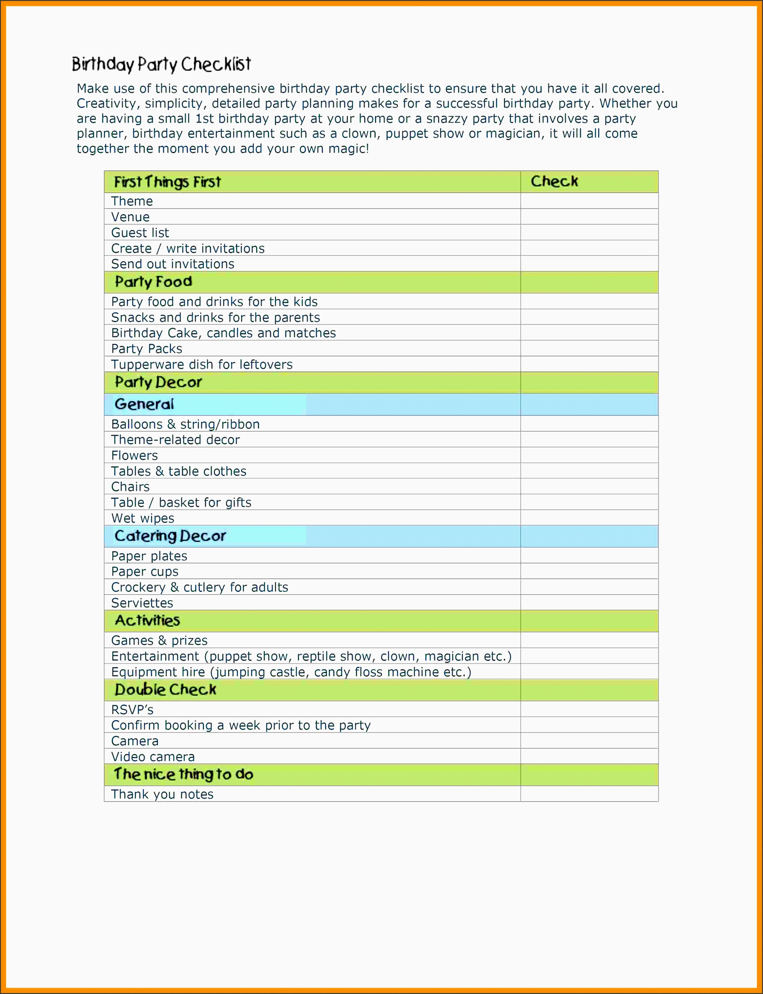 image relating to 1st Birthday Party Checklist Printable called birthday social gathering schedule pattern -