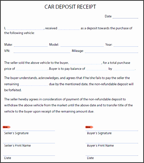printable car deposit receipt