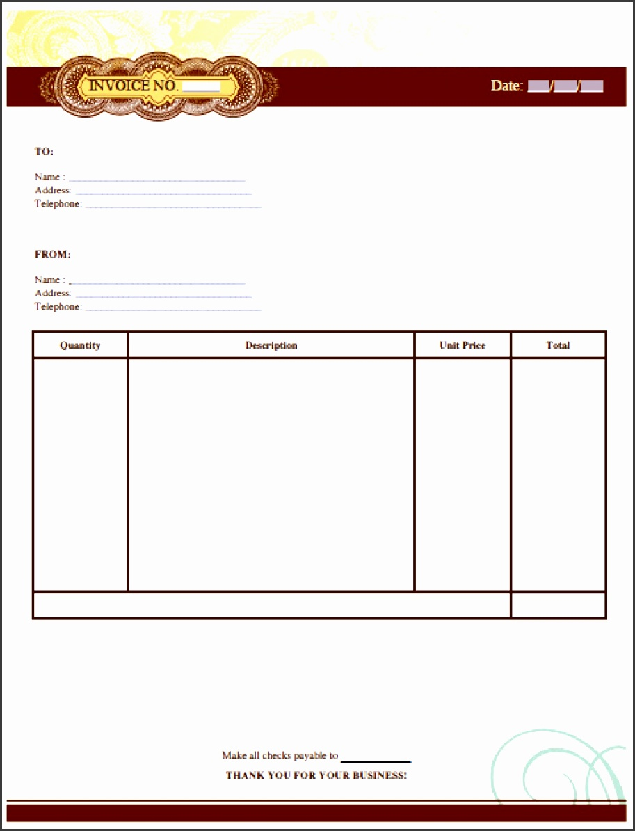 Template Artist Invoice Template  Free Payment Receipt Template