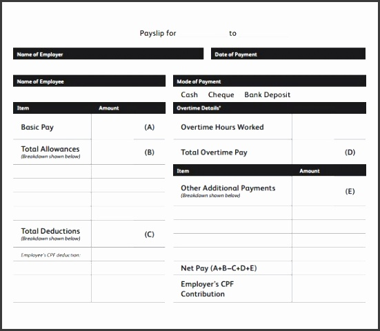 Blank Payslip Template Free  Payslip Format In Word