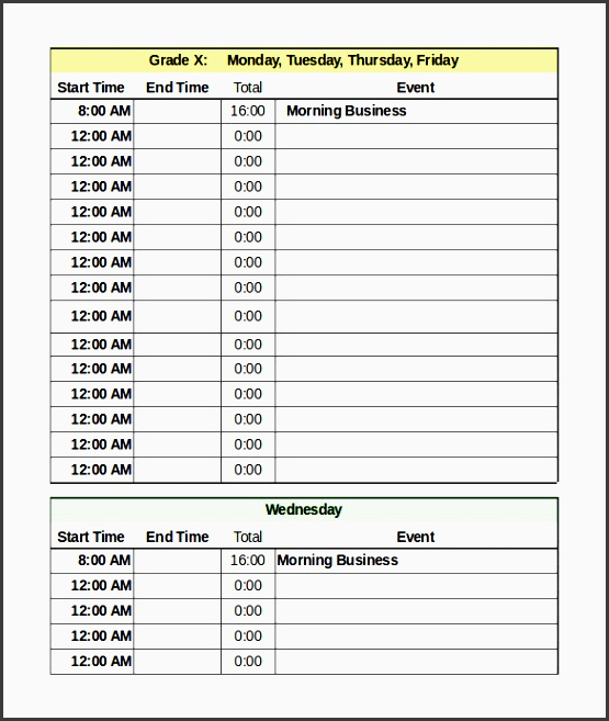 daily schedule template