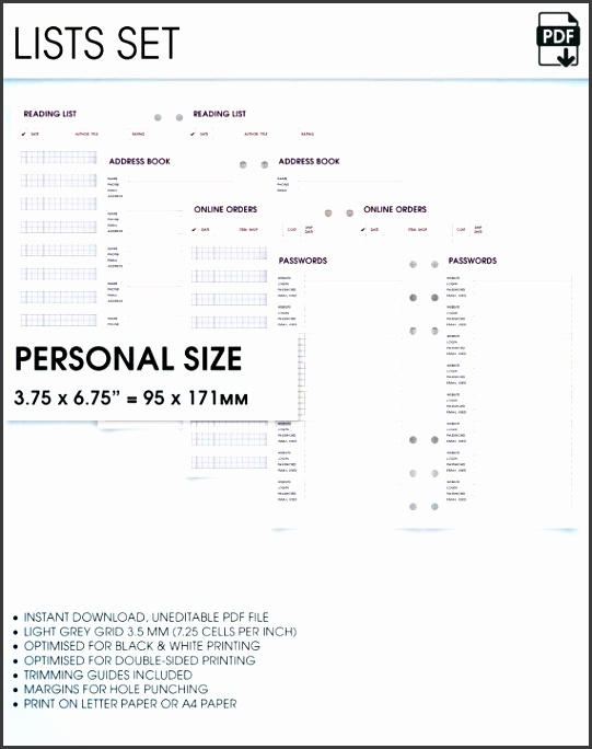 lists filofax personal size planner inserts printable address book bucket list wish list online orders password log reading journal
