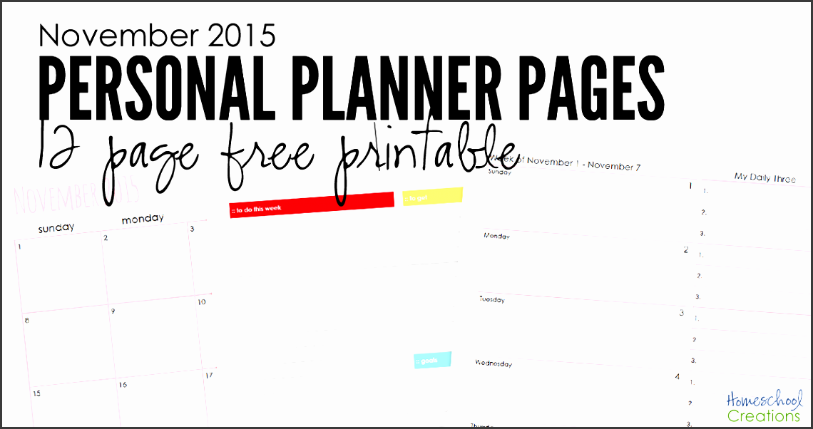 november 2015 personal planning pages 12 pages to organize your month homeschoolcreations edited 2