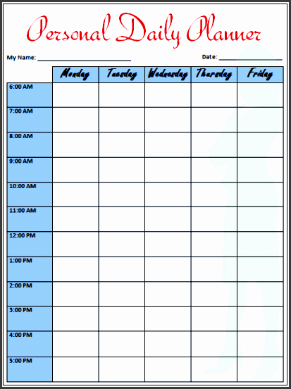 personal daily planner template for word