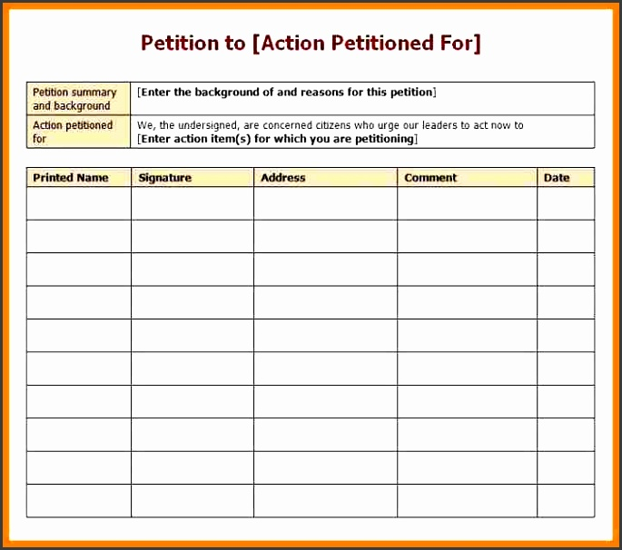petition layout