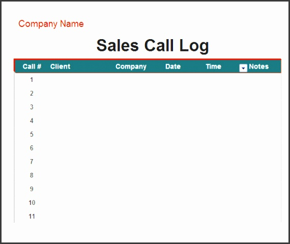 10 phone log for business