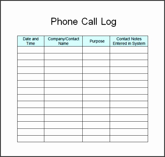 Call Log Template Pdf StaruptalentCom