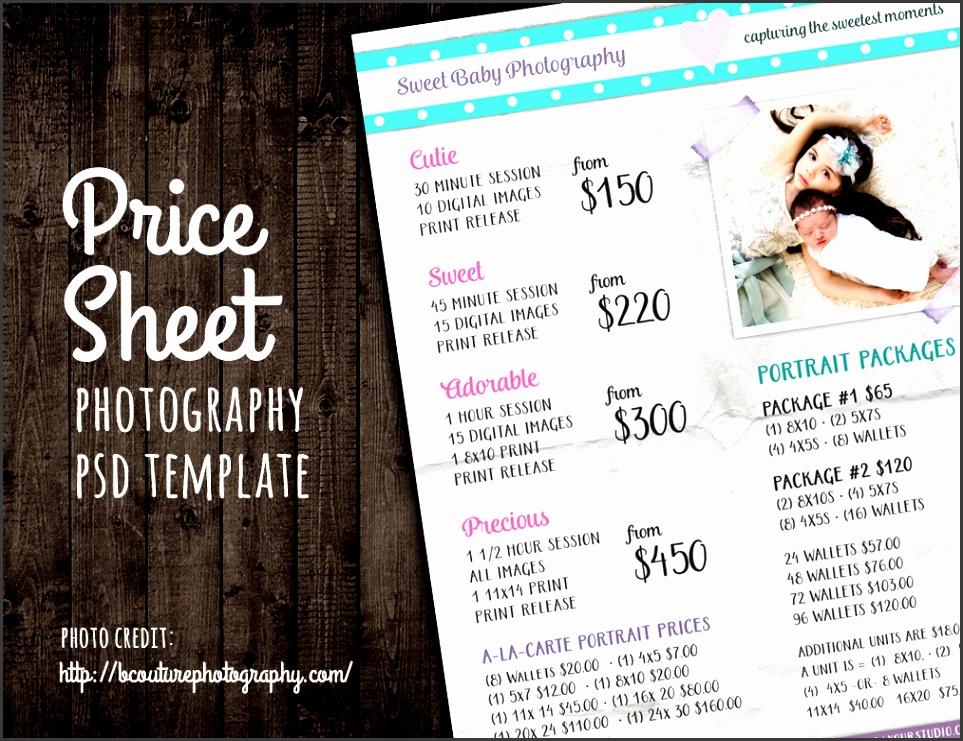 price sheet list psd template by studio29 on creativemarket