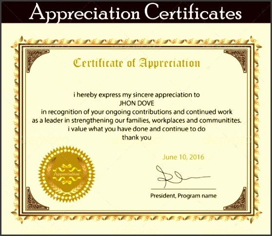 8 printable certificate of appreciation template for Recognition of service certificate template