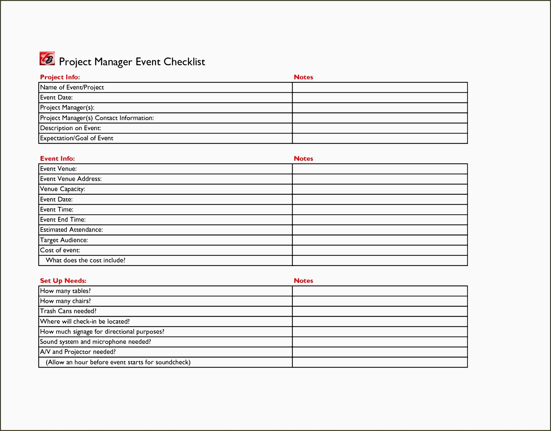 concert planning template - 5 printable church event planning checklist