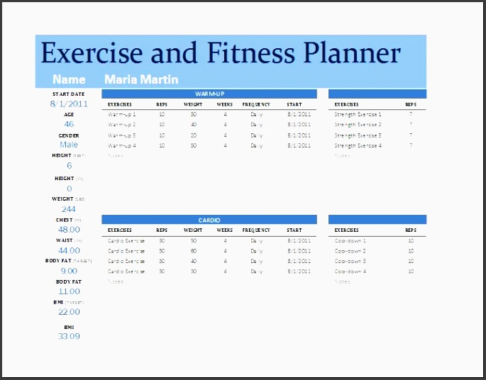 Printable Fitness Plan Template  Sampletemplatess  Sampletemplatess