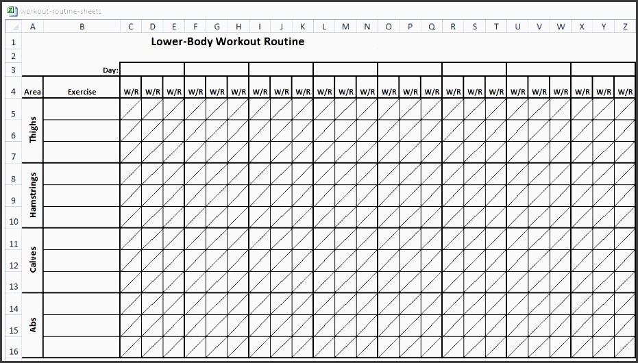 fitness plan template gym workout sheet