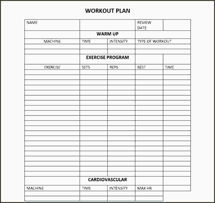 6 printable fitness plan template sampletemplatess 7 workout plan templatememo templates word memo templates word pronofoot35fo Choice Image