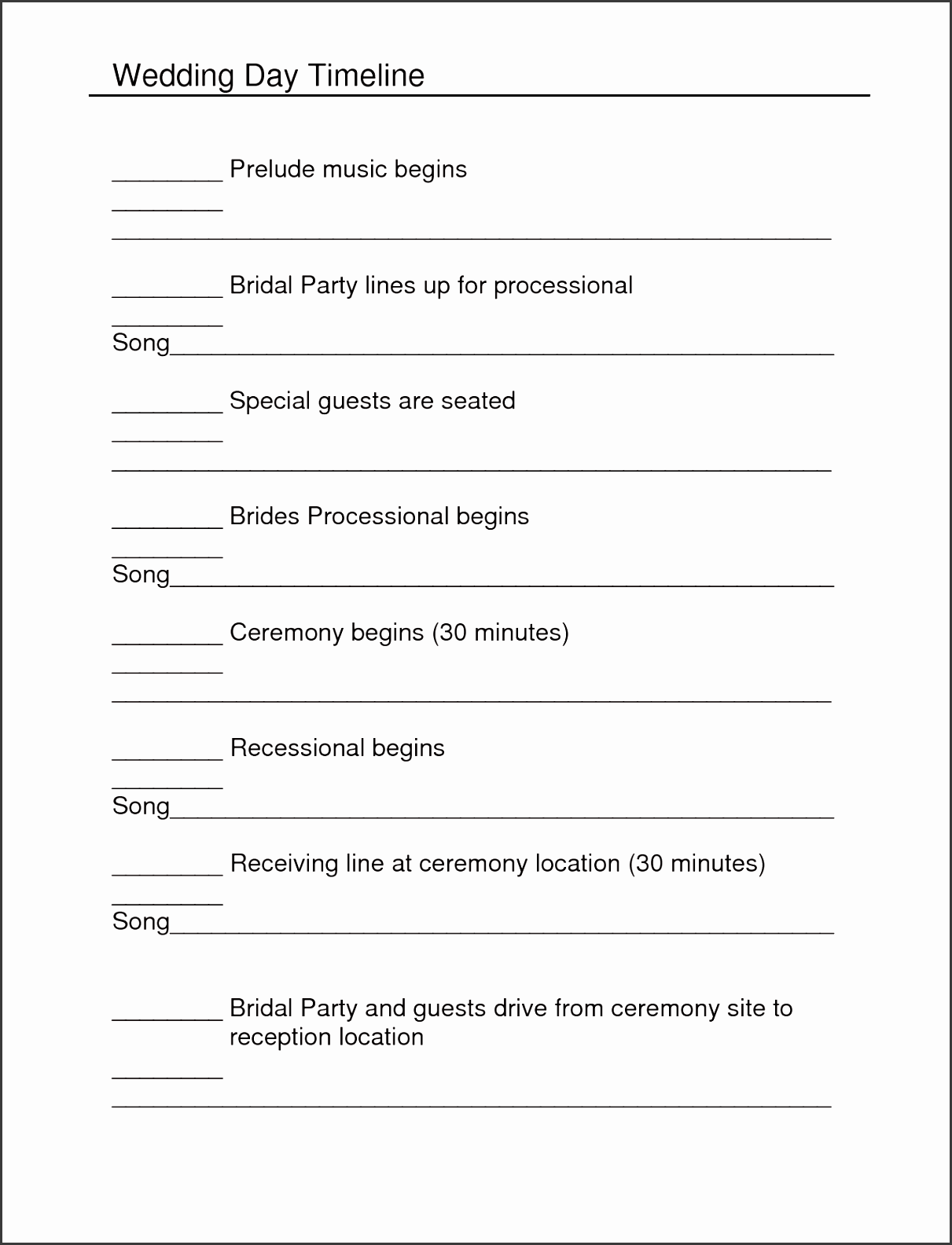 Pretty Wedding Reception Itinerary Template Ideas Example Resume - Wedding day itinerary template