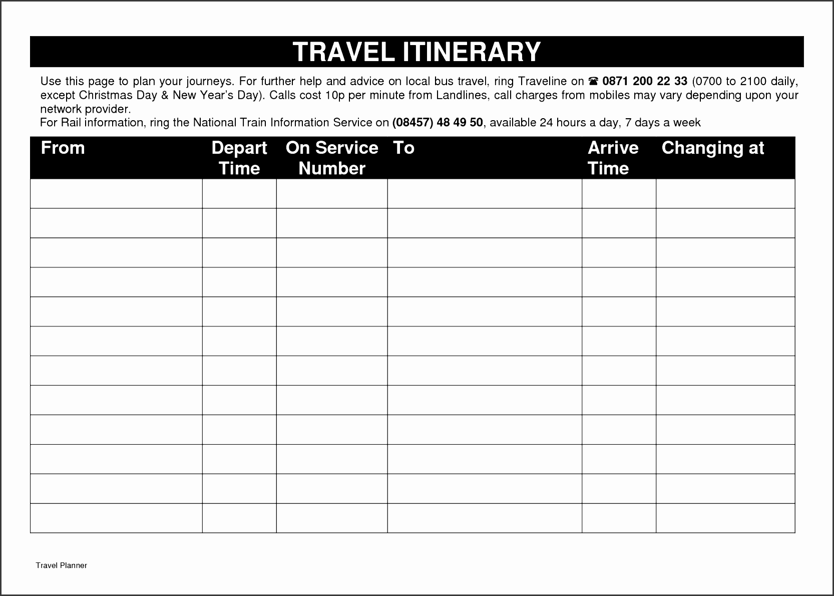 printable itinerary template
