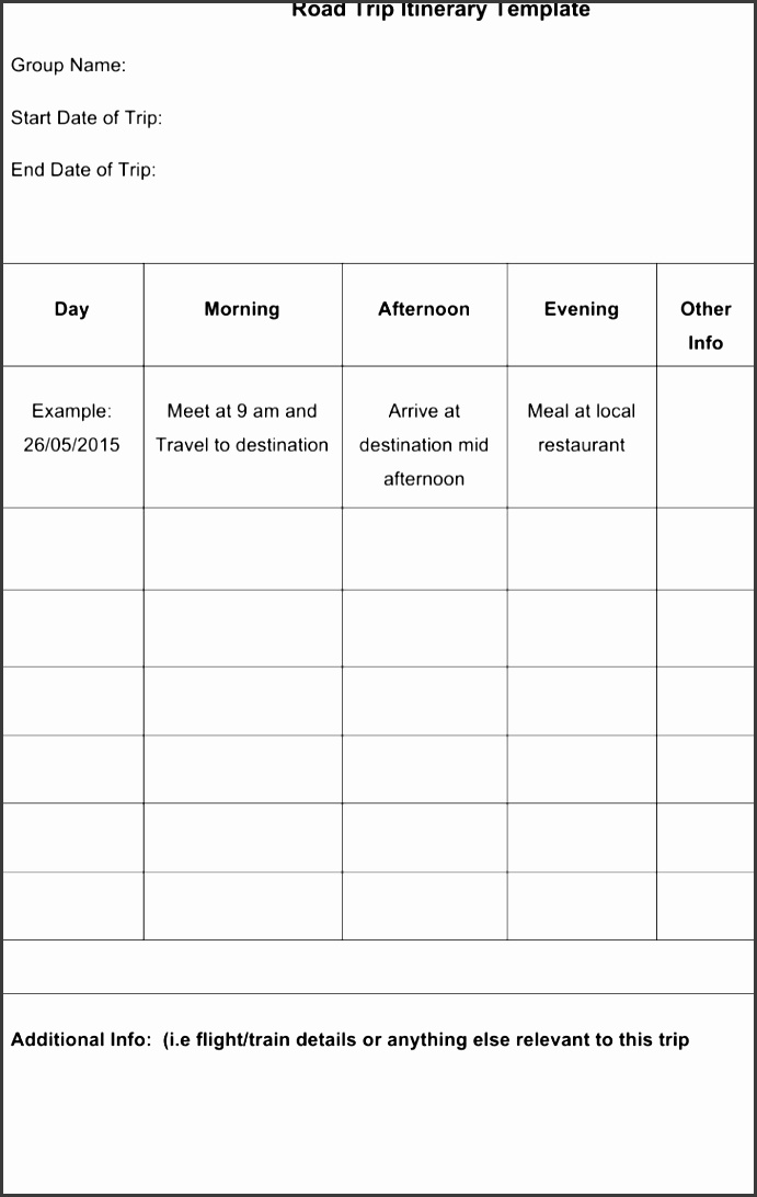8 printable itinerary template sampletemplatess for Blank trip itinerary template