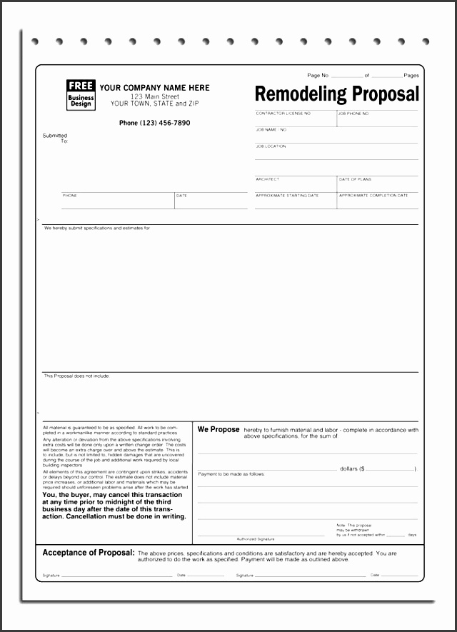 Handyman Proposal Template Handyman Business Estimate Form Bid  Blank Proposal Template