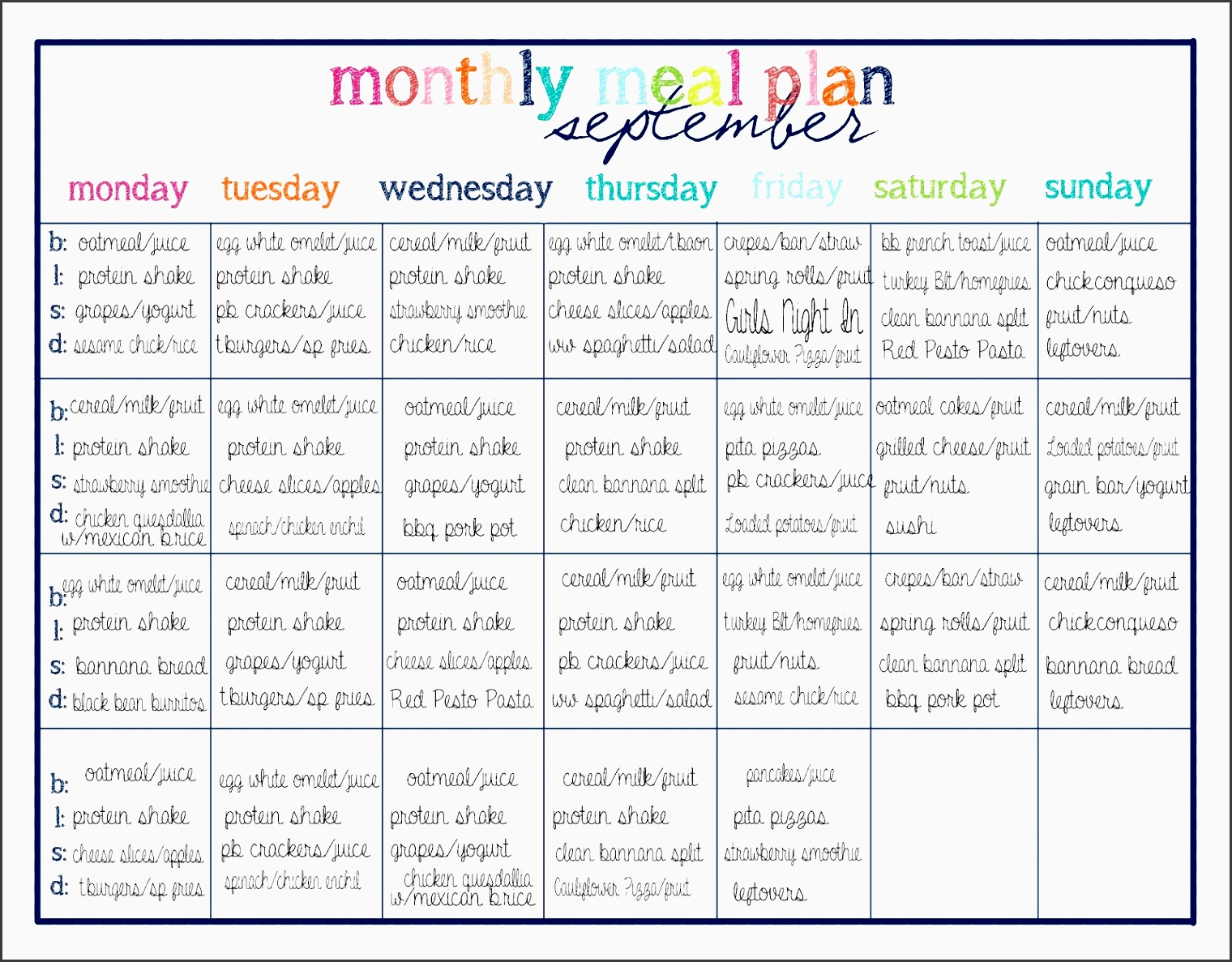 healthy weekly meal planner with grocery list on a bud
