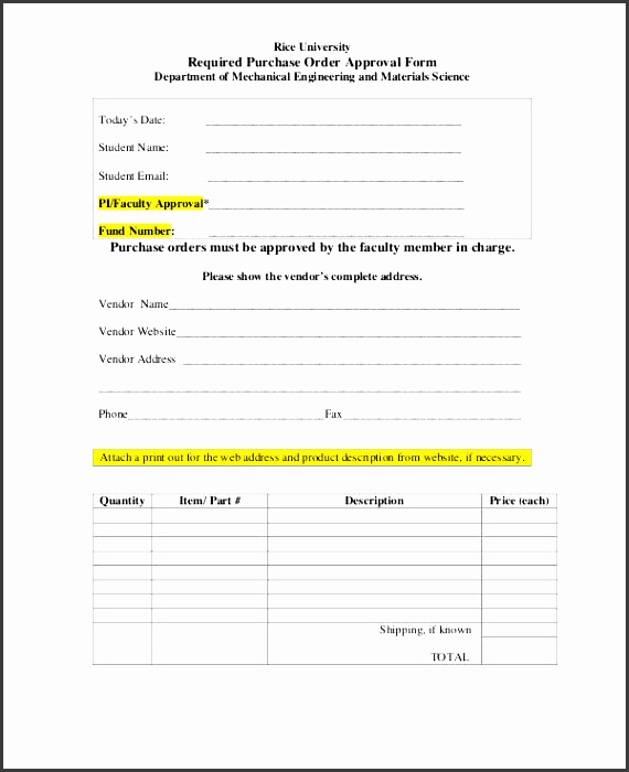 Purchase Order Approval Form Template  Purchase Order Template Word