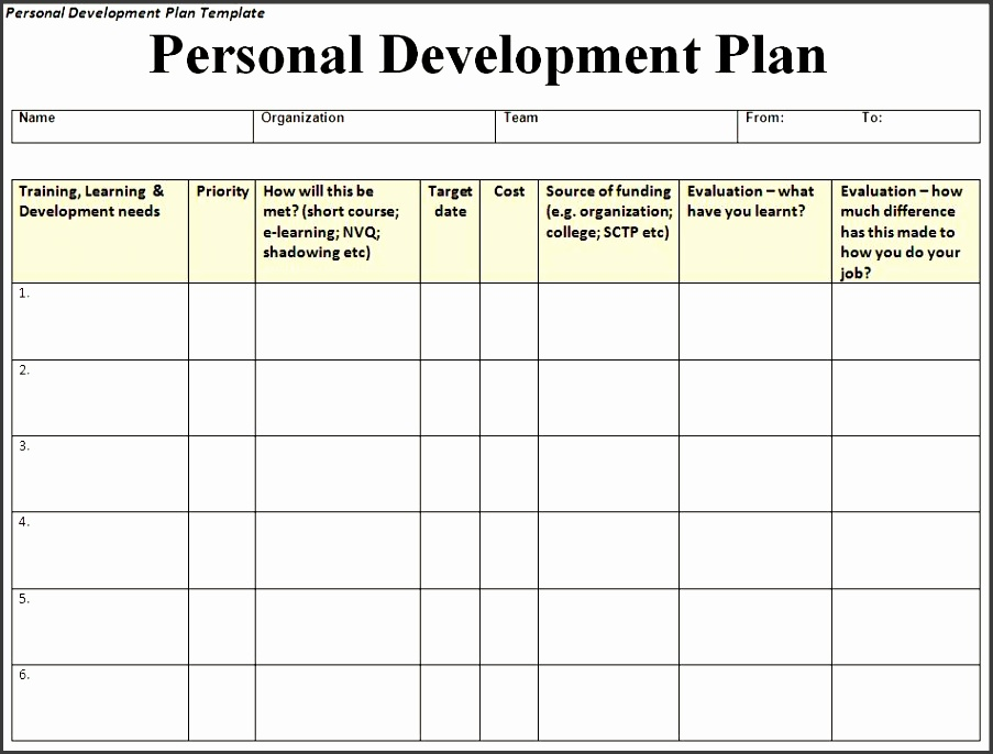 Personal Development Plan 2 6 Free Personal Development Plan Templates ...  Free Personal Development Plan Template