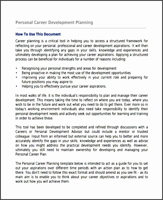 Personal Career Development Plan  Personal Career Development Plan Template