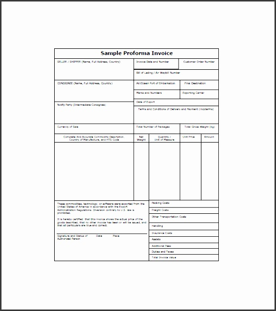 9 proforma invoice template downloadable for free